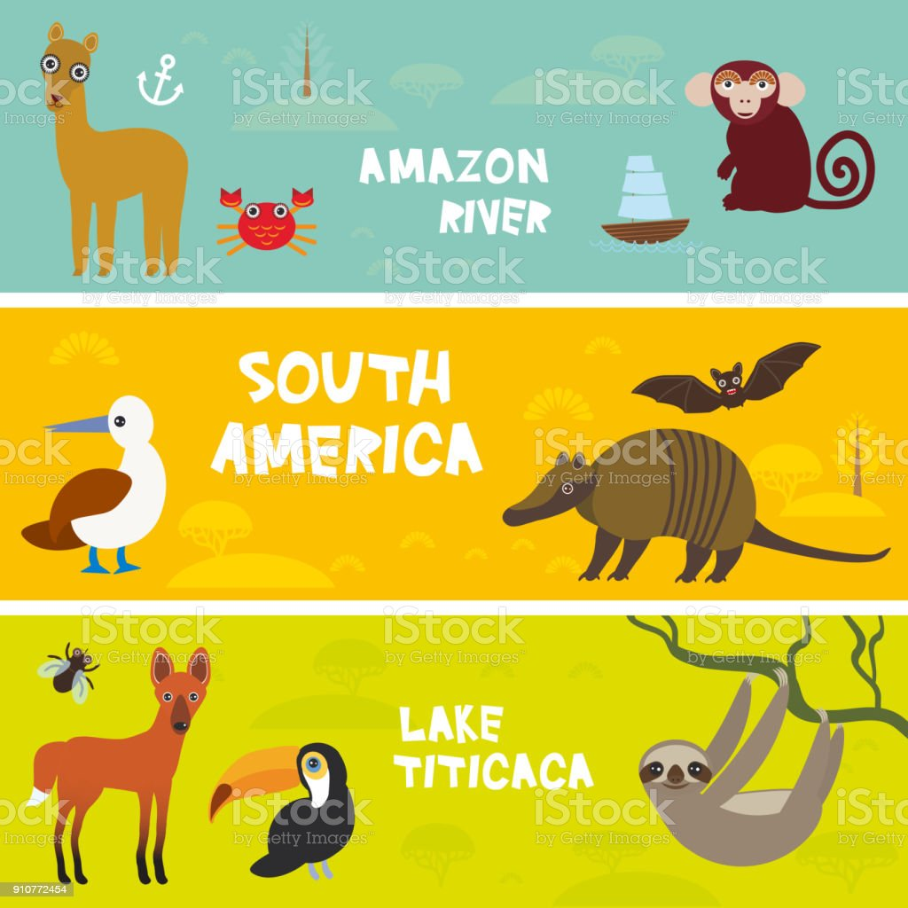 Cute animals set anteater manatee sea cow sloth Hyacinth macaw guanaco lama marmoset monkey armadillo Blue-footed booby, kids background, South America Titicaca, Amazon bright colorful banner. Vector vector art illustration