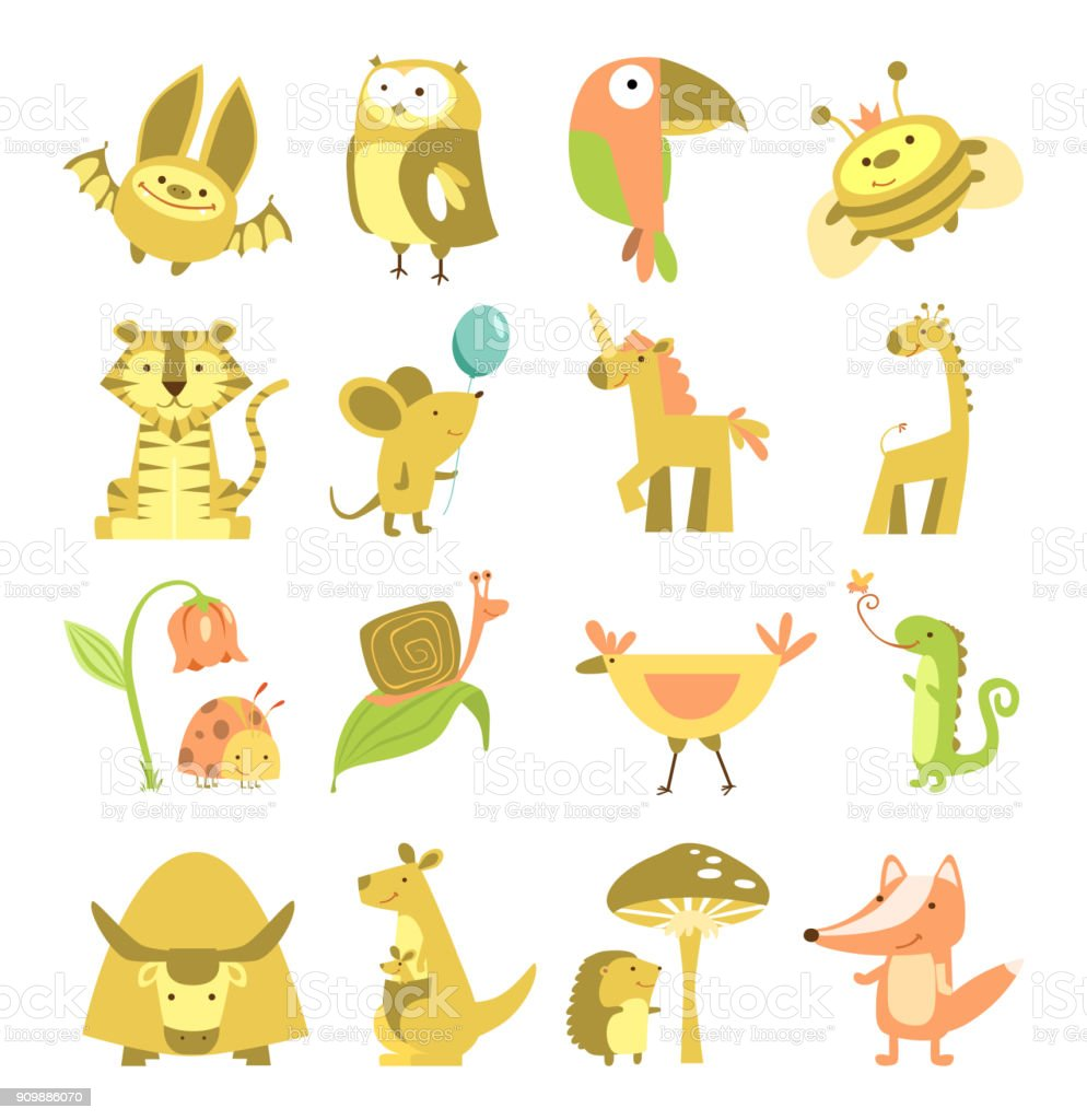 cute animals set vector art illustration