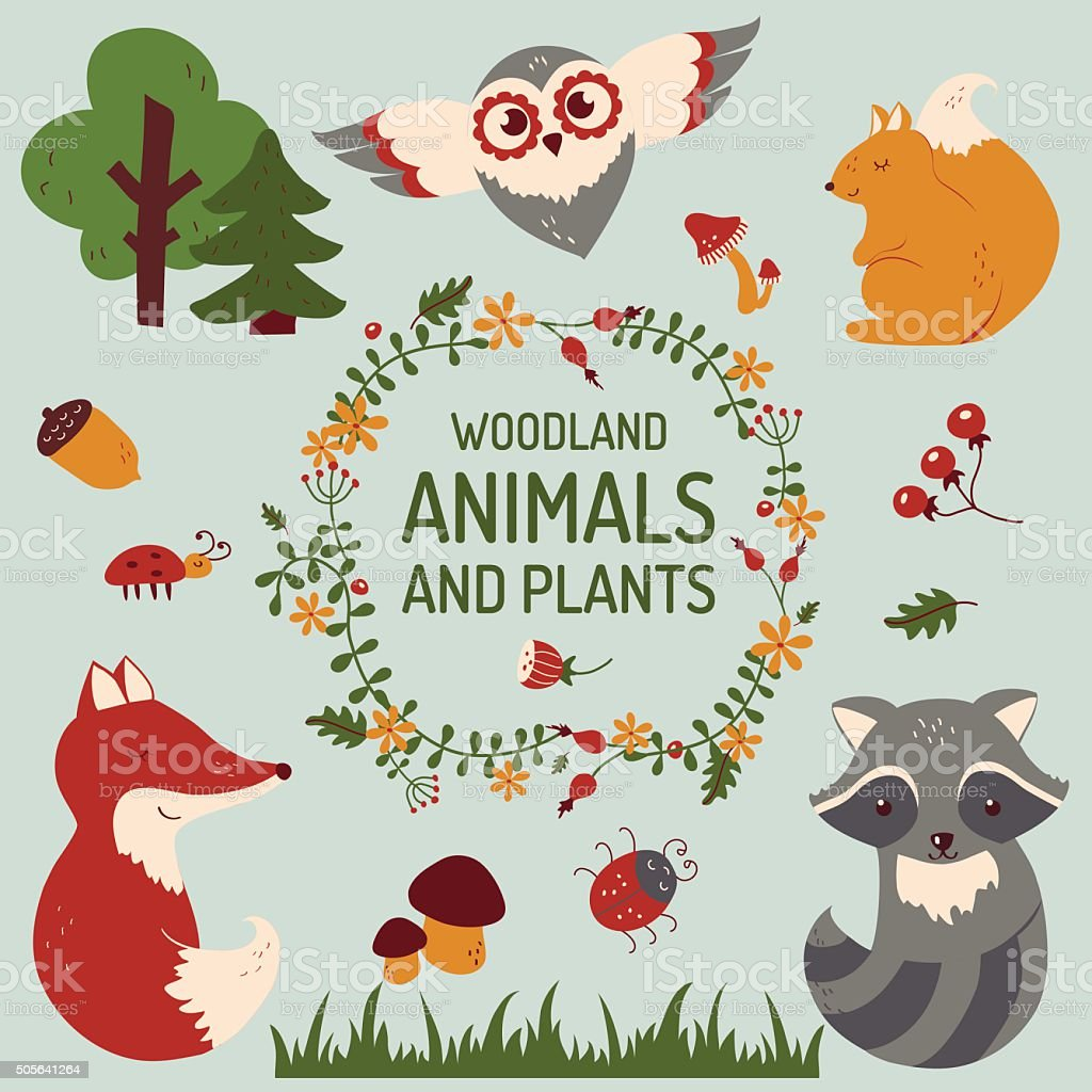 Cute animals set. Vector illustration. vector art illustration