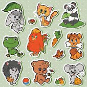 Cute animals set, vector kids stickers with baby animals (rabbit, dog, cat, panda, bear, mouse, hedgehog, bird)