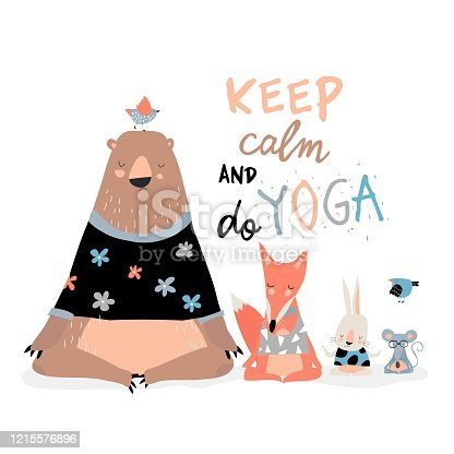 Cute animals sitting in yoga lotus pose and relaxing