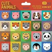 Cute animals square icon set. Vector trendy illustrations.