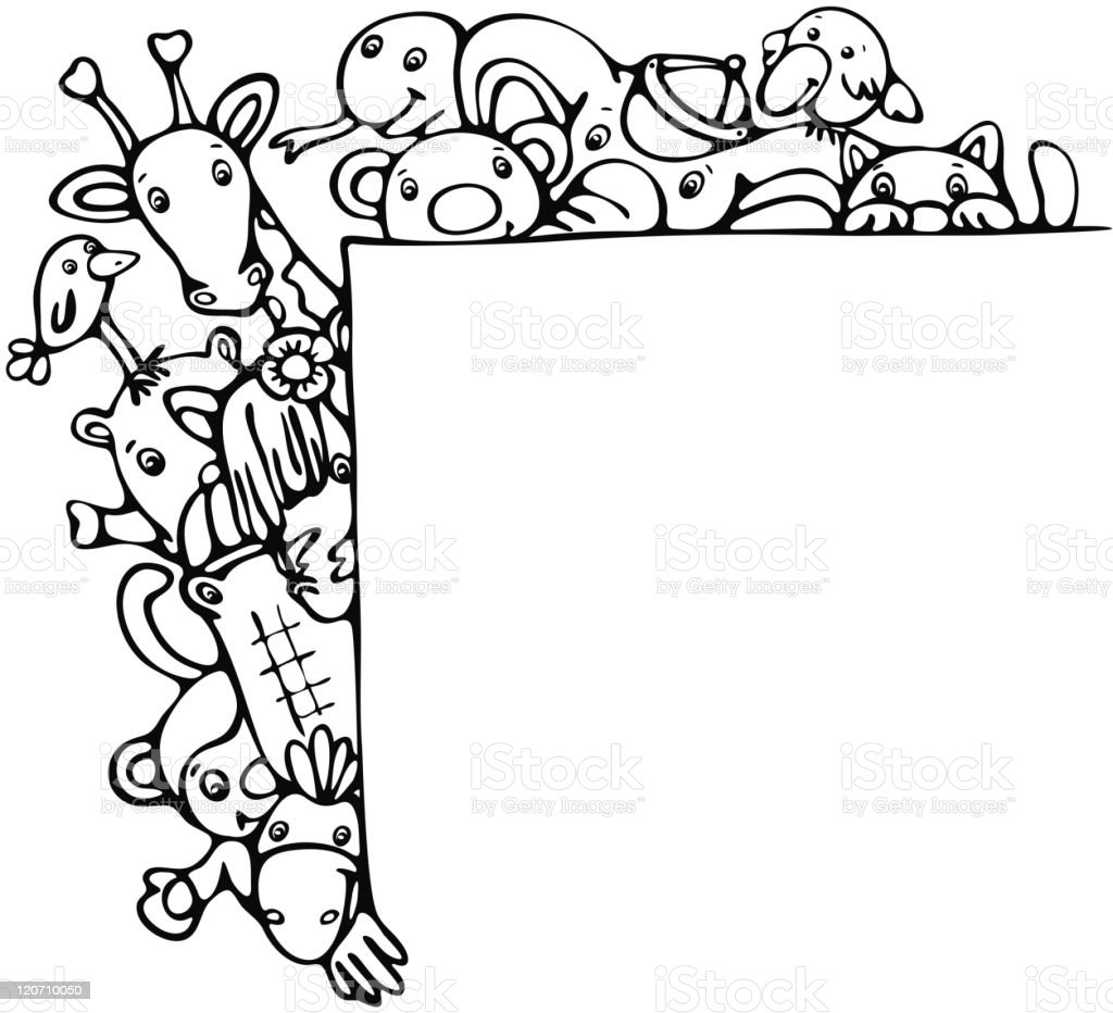 Cute animals stand by blank. royalty-free cute animals stand by blank stock vector art & more images of animal