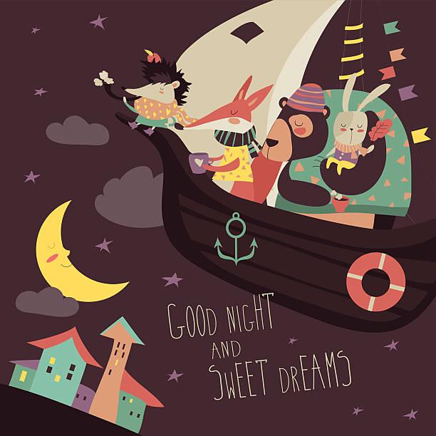 cute animals swimming on boat in the night sky - geistergeschichten stock-grafiken, -clipart, -cartoons und -symbole