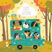 Cute animals traveling by bus. Vector illustration