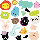 Vector illustration of Cute Animals ( Emoticons ). Created with adobe illustrator.