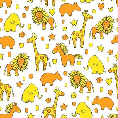 Cute animals. Vector   pattern.