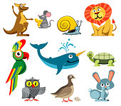 Cute animals vector set in cartoon style