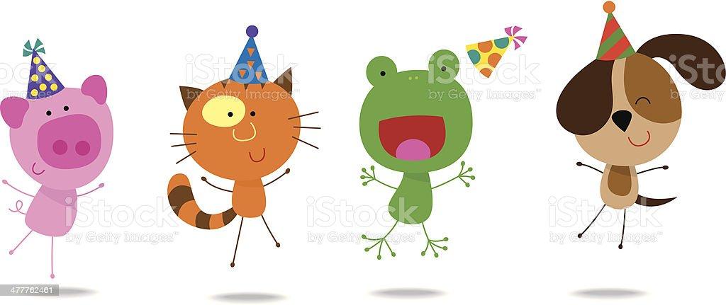 Cute animals with birthday hats 1 vector art illustration