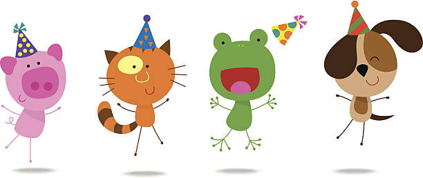 Cute animals with birthday hats 1 vector art illustration