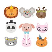 Cute animals with funny accessories. Set of hand drawn smiling characters. Cat, lion, panda, dog, tiger, deer, bunny, mouse and bear. Cartoon zoo