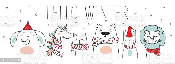Cute animals with winter scarves hats and hello winter text vector vector id1179817288?b=1&k=6&m=1179817288&s=612x612&h=bqgn4ud0pcxtj43heasqkp6uvwm2pz wjz0qjj7zp i=