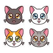 Cute anime cats set