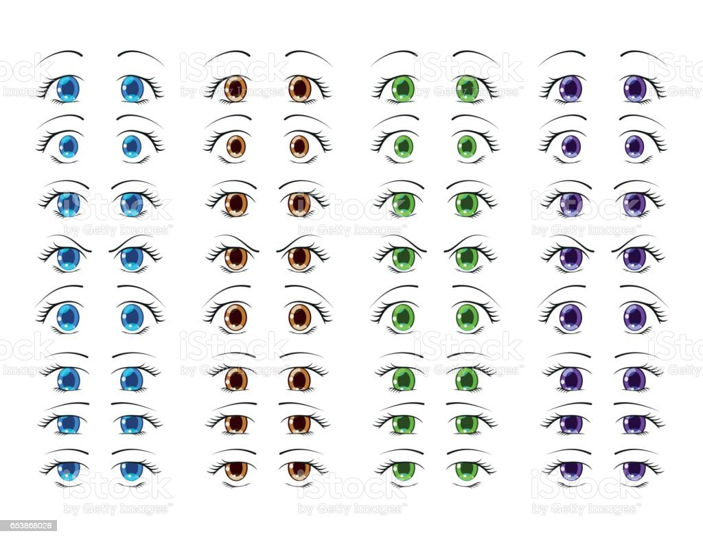 Cute anime eyes in manga style showing various human emotions. Vector illustration. vector art illustration