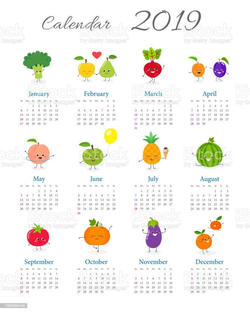 Cute Annual Calendar 2019 Stock Vector Art More Images Of 2019