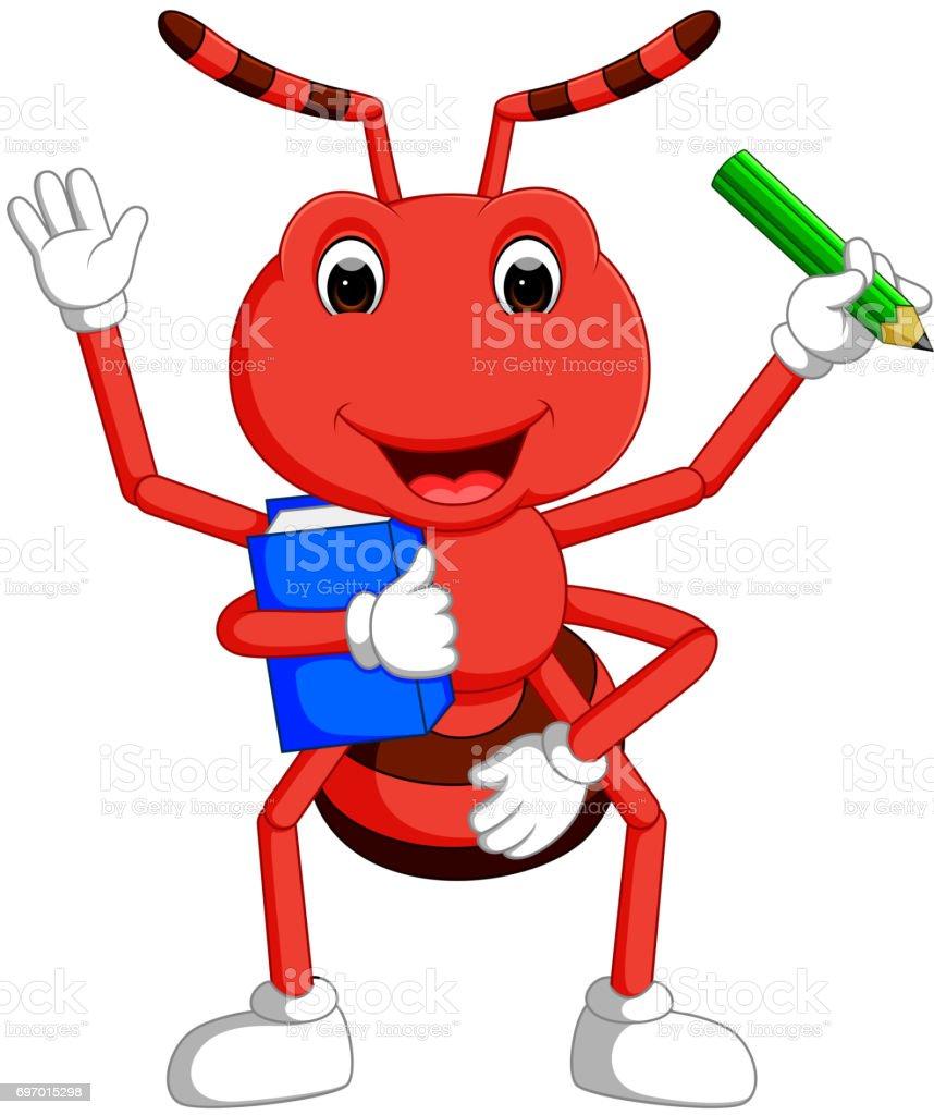 şirin Karınca Boo Taşıyan Ve Kalem Stok Vektör Sanatı Animasyon