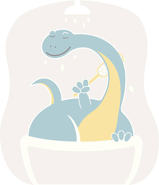 Cute apatosaurus taking shower vector art illustration