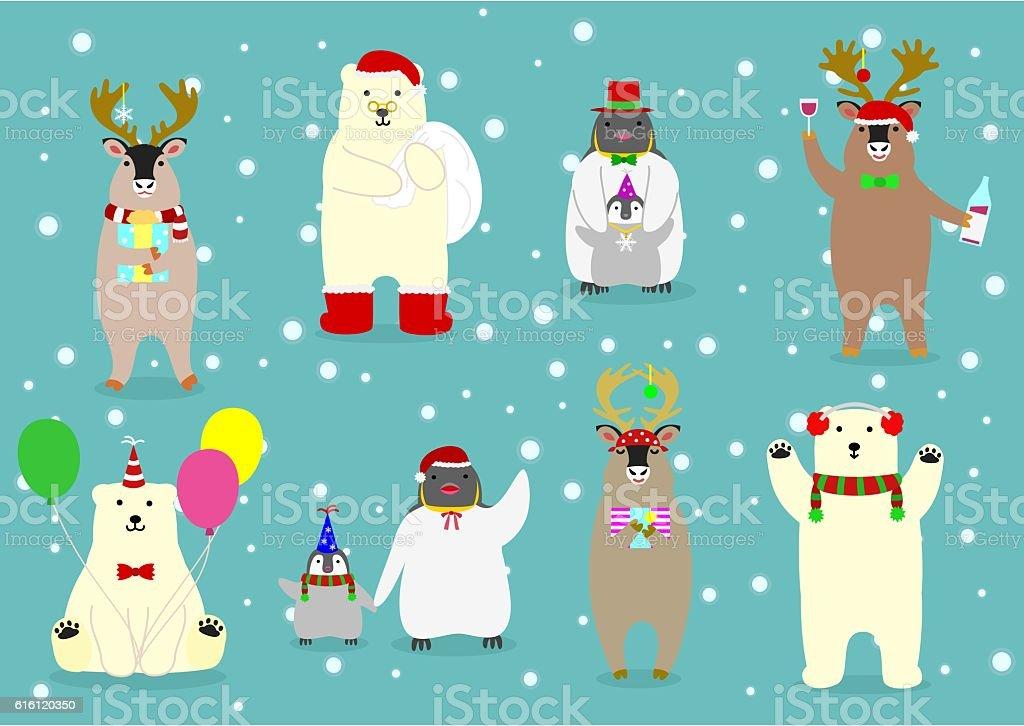 cute arctic animals set めがねのベクターアート素材や画像を多数ご