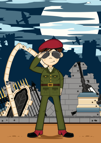 Cute Army Soldier in Ruined City