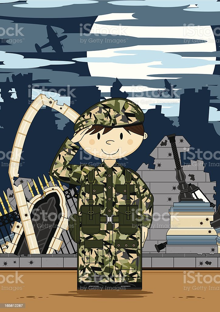 Cute Army Soldier in Ruined City royalty-free stock vector art