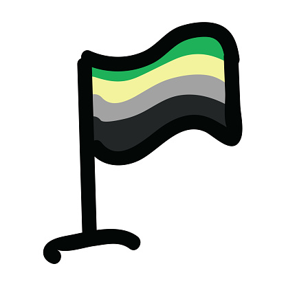 Cute aromantic flag cartoon vector illustration motif. Hand drawn isolated LGBTQ pan elements clipart for pride blog, sexuality graphic, love web buttons.