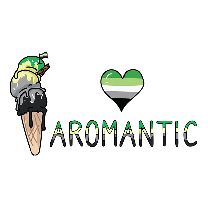 Cute aromantic ice cream cone cartoon vector illustration motif. LGBTQ bi sweet treat elements for pride blog. Typography graphic for summer web buttons.