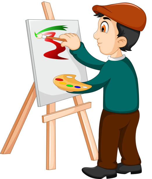 cute artist painter was painting - old man hats pictures stock illustrations, clip art, cartoons, & icons