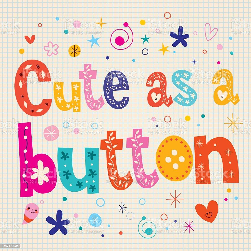 かわいいにボタン飾りタイプ文字のテキストのデザイン