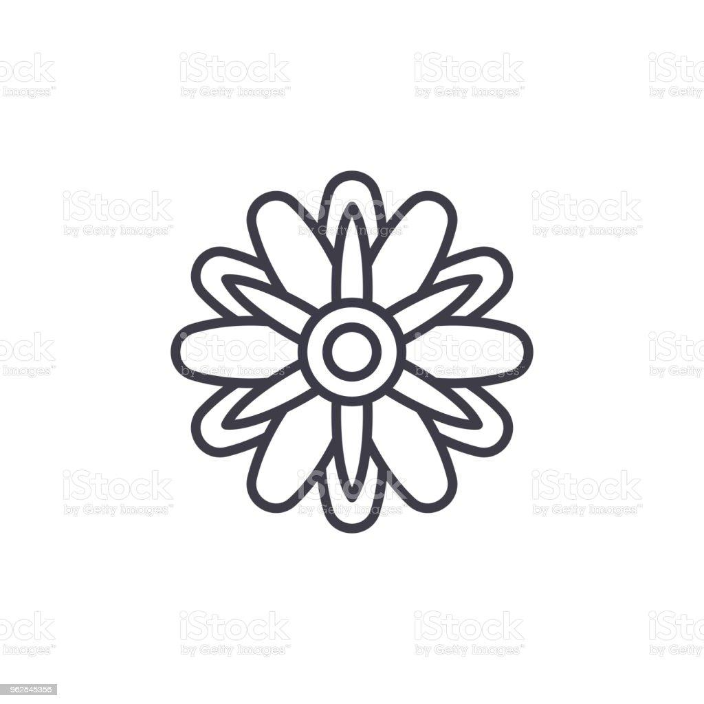 Conceito de ícone de linha áster bonitinho. Áster bonito liso vector sinal, símbolo, ilustração. - Vetor de Abstrato royalty-free