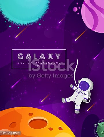 Cute astronaut cartoon floating with planet in space background. Colorful universe. Game design. Fantasy space planets for ui galaxy game. EPS 10.
