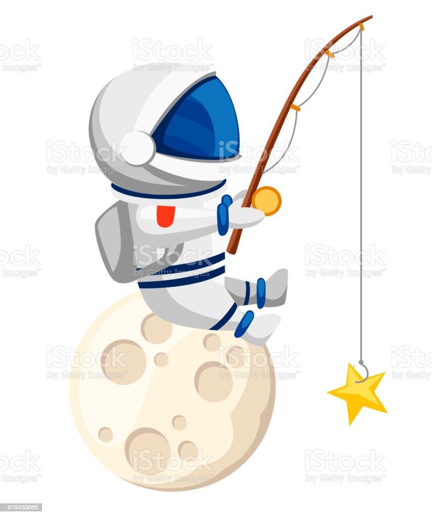 かわいい宇宙飛行士イラスト宇宙飛行士は月と魚に座っています星の形の中