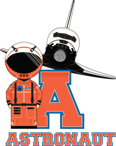 Cute Astronaut Learning Letter A