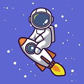 istock Cute astronaut mascot design 1257804193