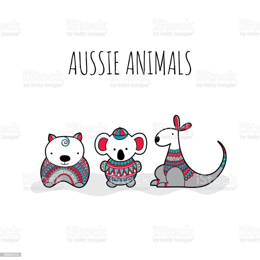 Cute Aussie Animal Friends Doodle Vector vector art illustration