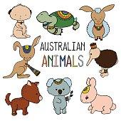 Cute australian animals color vector drawing. Animals of Australia hand-drawn illustration.