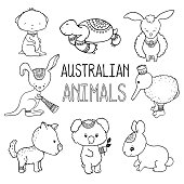 Cute australian animals outlined vector drawing. Animals of Australia hand-drawn illustration.