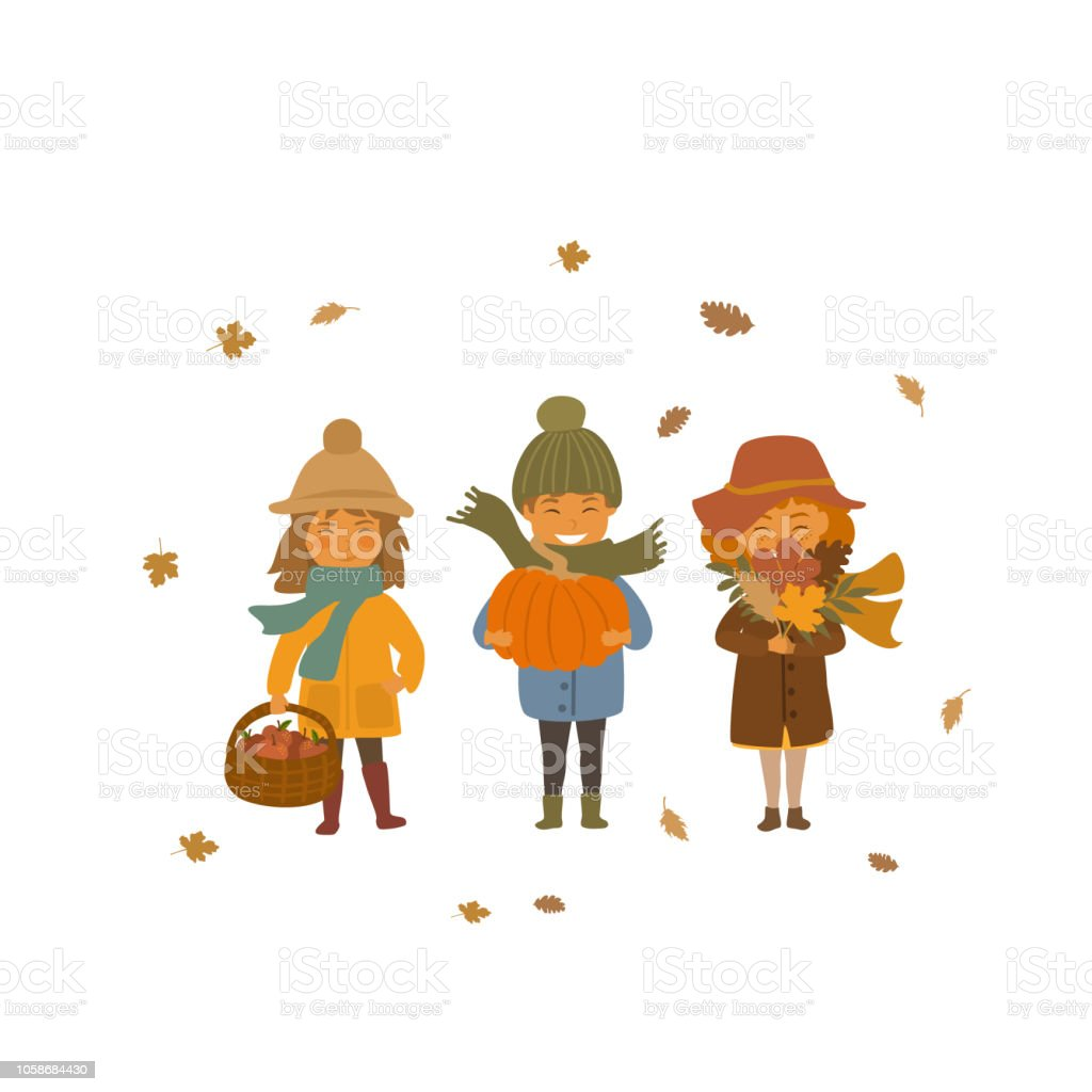 Cute Autumn Children Boy And Girls With Apple Baskets Dry Fall Leaves And Pumpkin Isolated Vector Illustration Scene Stock Illustration Download Image Now Istock