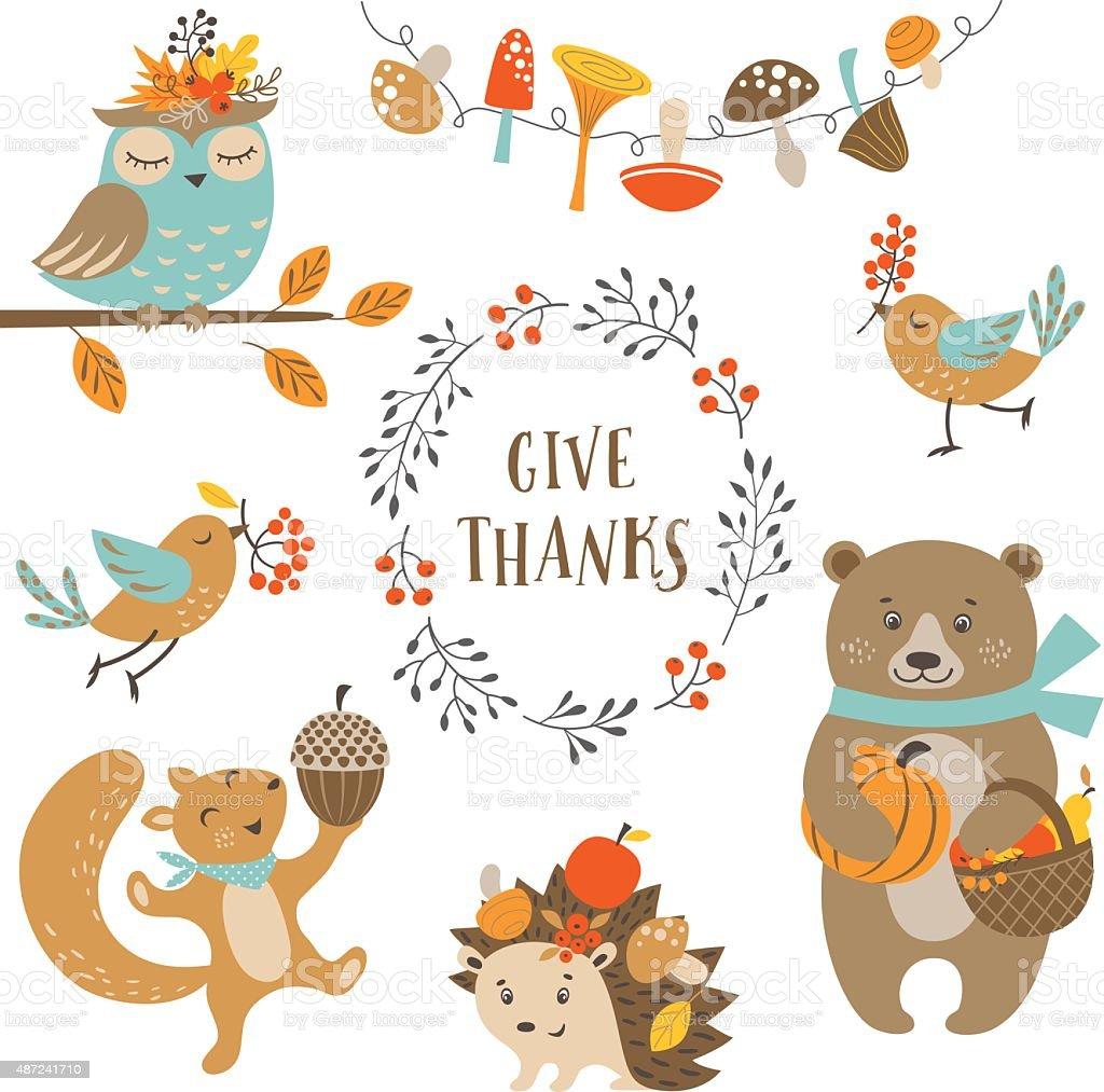 かわいいある秋の森の動物 2015年のベクターアート素材や画像を多数ご