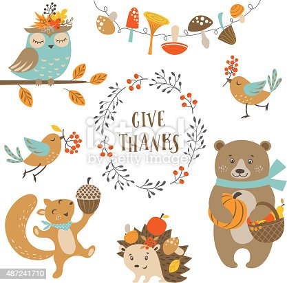 Cute Autumn Forest Animals Stock Vector Art Amp More Images
