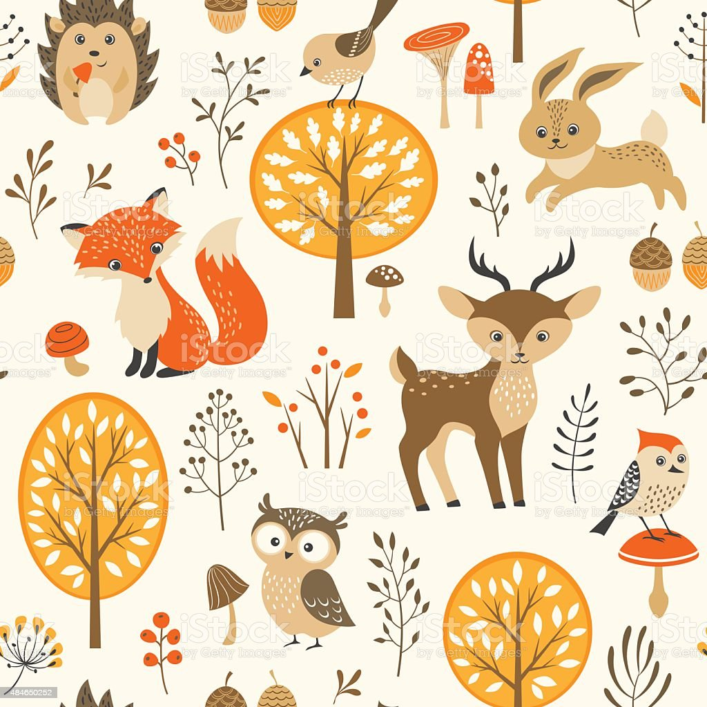 Cute autumn forest pattern vector art illustration