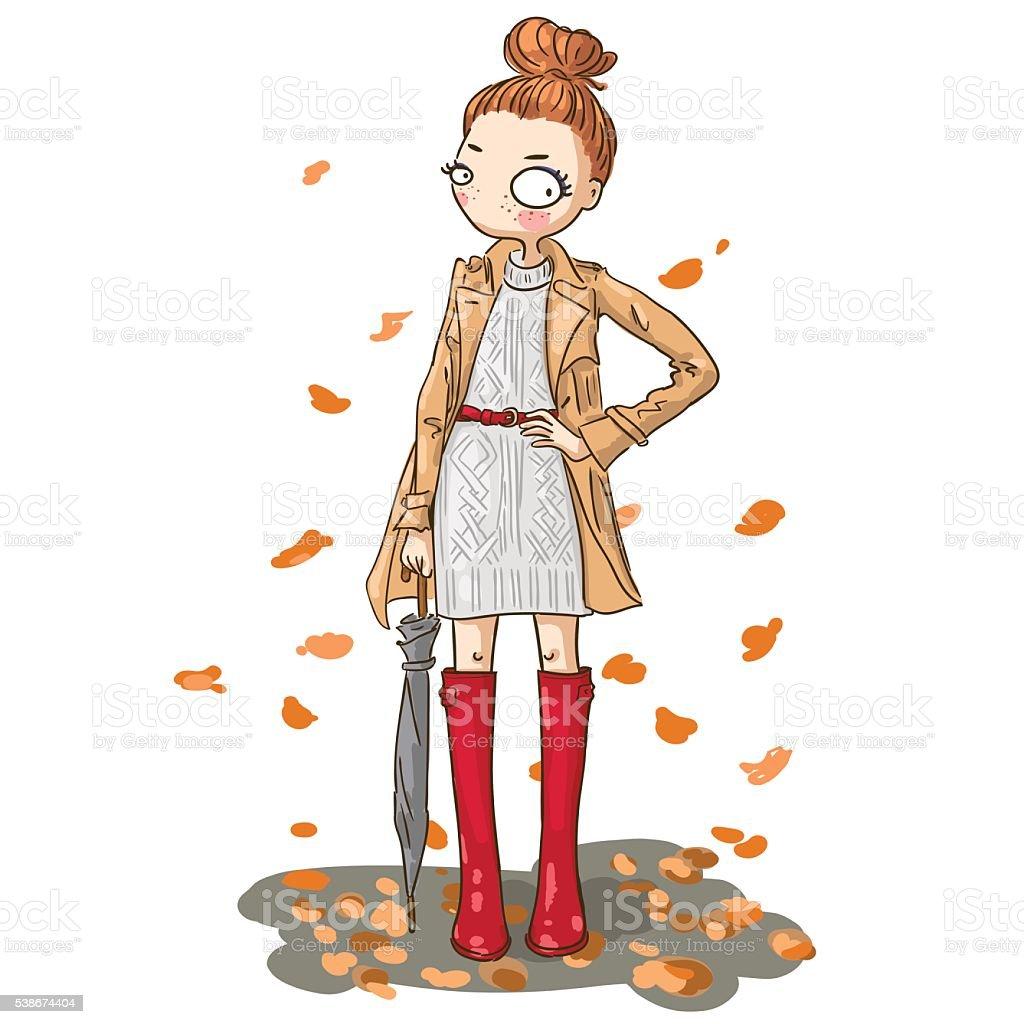秋のかわいい女の子 1人のベクターアート素材や画像を多数ご用意 Istock