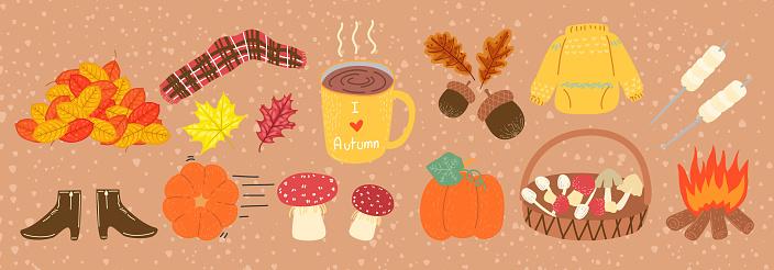 cute autumn harvest season, fashion and lifestyle flat design cartoon set icon with vintage tone color