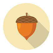 Flat Design Style Autumn Icon - Acorn