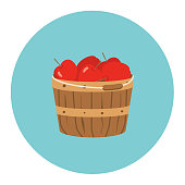 Flat Design Style Autumn Icon - Bushel Basket Of Apples