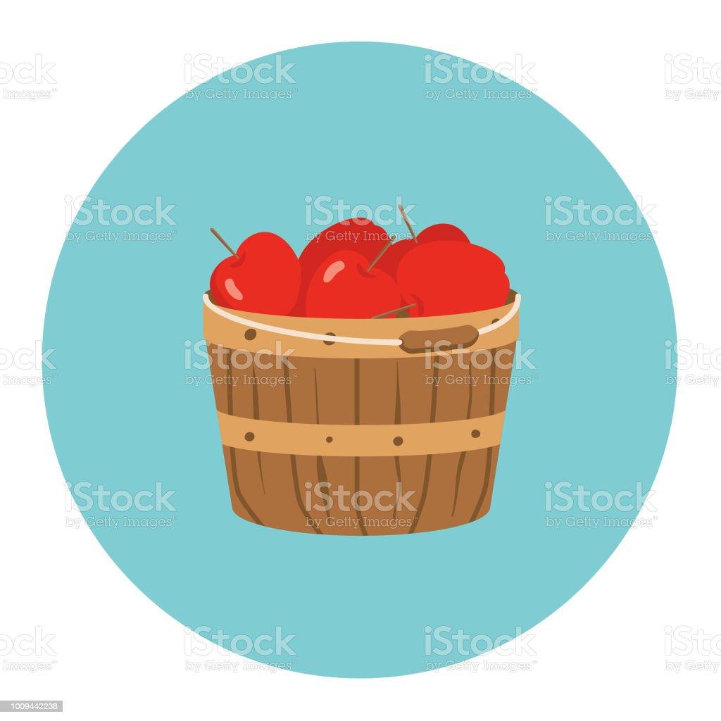 Cute Autumn Icon - Bushel Basket Of Apples vector art illustration