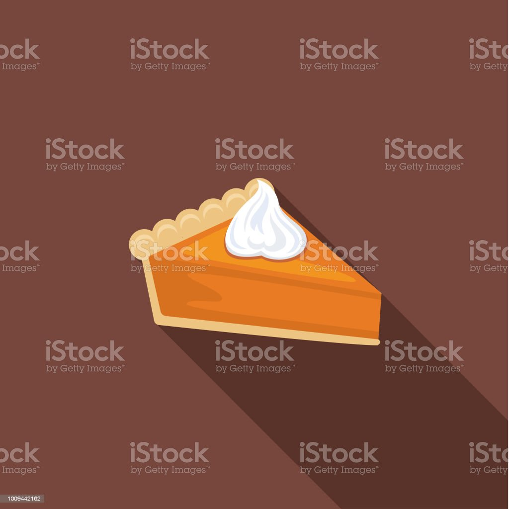 Cute Autumn Icon - Pumpkin Pie vector art illustration