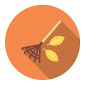 istock Cute Autumn Icon - Raking Leaves 1009442584