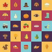 Flat Design Style Autumn Icon Set