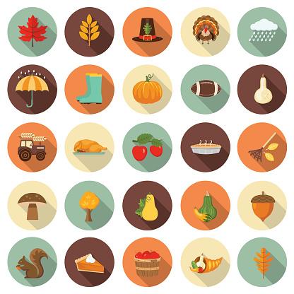 Cute Autumn Icon Set