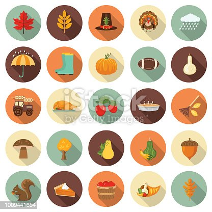 Flat Design Style Autumn Icon Set